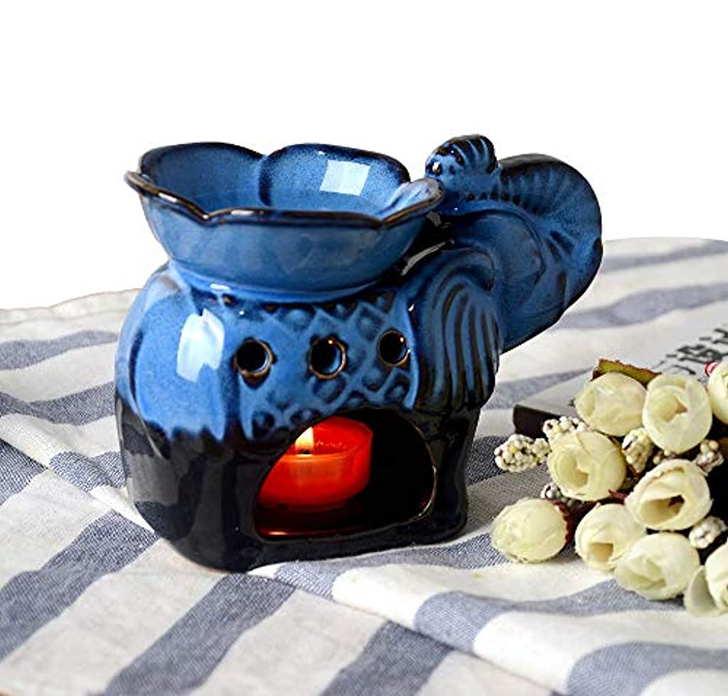ドループ速い驚かすHwagui アロマ炉 茶 香炉 おしゃれ お茶の香り 消臭と癒し 陶器 (象) 靑い 茶 香炉