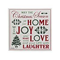 Kurt Adler 12 Wood Canvas Transfer Multi Words Sign may The Christmas Season Fill Your Home With J【クリスマス】【ツリー】 [並行輸入品]