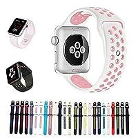 For Apple Watch バンド シリカゲル アップルウォッチNike+ / New apple watch series1/2/3/4用のアップルウォッチバンドとアップルウォッチ 対応 40MM 44MM シリカゲルバンド スポーツシリコンストラップリストバンド交換バンド柔らか運動型 (44MM-S/M, 白+ピンク)