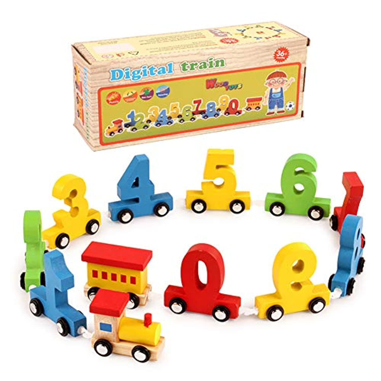 RARITY-US マイファーストナンバートレイン - 赤ちゃん 子供 木製電車 おもちゃ 数字 0-9 積み重ね ペグパズル ゲーム 幼稚園 早期教育玩具 子供用