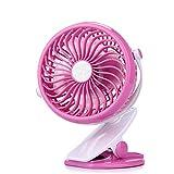 Usb 扇風機, Lamshaw ベビーカー扇風機 卓上 USBファン クリップ型 USB充電式/電池式 360度調整可能 (ピンク)