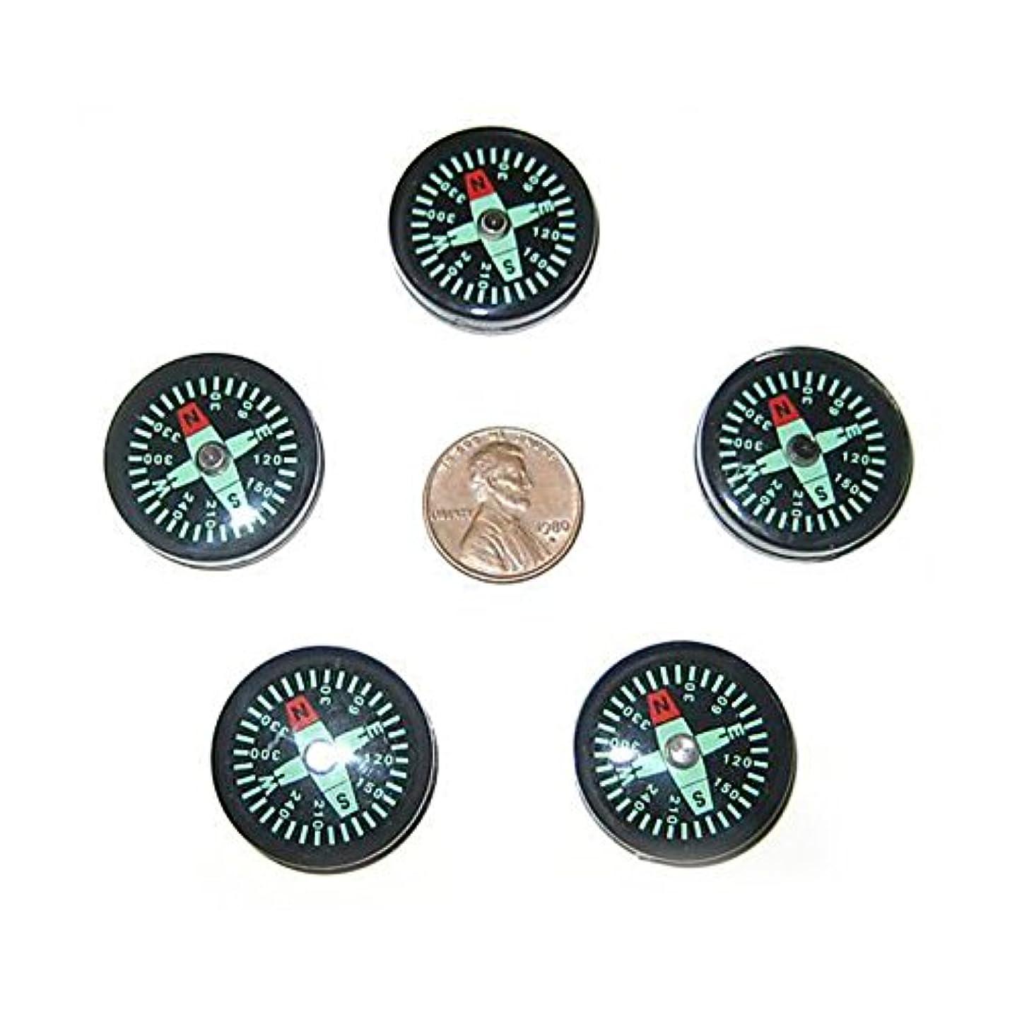 キリン個性硬化するSemoic 5個小型25mmポケットサバイバルスカウトボタン羅針盤!