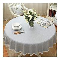 YF 食卓カバー リネン アメリカンソリッドカラーラウンドテーブルクロス、洗える、退色なし、収縮なし4色 (Color : D, Size : 130cm)