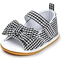 Meckior Baby Girls Premium Soft Rubber Sole Anti-Slip Summer Shoes Infant Baby Prewalker Toddler Sandals. (13cm(12-18months), H-Black)