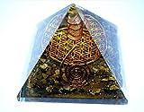 オルゴナイト タイガーアイ x大きなフラワーオブライフ ★ピラミッド型 約70x70mm 電磁波防御 パワーストーン浄化