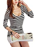 レイソフィー (RaySophy) セクシー Tシャツ カットソー 七分 袖 レディース (XL, ボーダー)