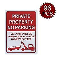 Aspire Premium Aluminium駐車禁止標識 私有財産の看板 違反者は 車の所有者に追いやられることになります - No Parking/96個入り - 25cm W x 35cm L