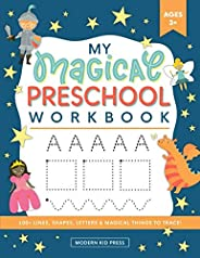 My Magical Preschool Workbook: Letter Tracing   Coloring for Kids Ages 3 +   Lines and Shapes Pen Control   To