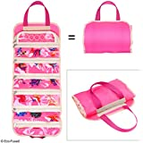 Fold out toy organiser storage bag for girls - Ideal for toys, accessories and collectibles, such as: Barbie, Disney, LOL, Shopkins - Also great for arts & crafts, cupcake decorations, make-up, etc.