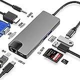 USB C ハブ Type C ハブ - 1台9役【最新版】USB C 60W PD充電 HDMI 4K出力 VGA 1080P出力 LAN(1Gbs) USB3.0ポート×2 3.5mm ヘッドフォンジャック×1 SD TFカード対応 MacBook/MacBook Pro対応 (グレー) (9 in 1)