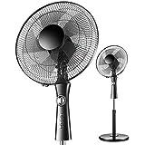 台座扇風機、スイング - 低騒音 - 3スピード - 1Hタイミング - 調節可能な伸縮ブラケット - 60W - 夏冷却 - 黒