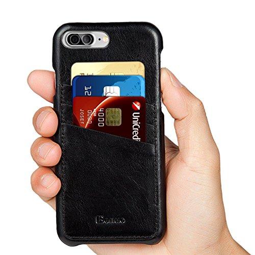 iPhone 7 Plus ケース Benuoアイフォン7プラス本革レザーケース 高品質 手作り カード収納 シンプル 超薄型 ビジネス風 取り出し易い 背面カバー Apple iPhone7 Plus用 (ブラック)