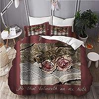 MISCERY 布団カバー,本の中で心に強く訴えるテーマローズフローラル,冬暖かい優れた寝具カ 4点 セットファッション,210x210cm