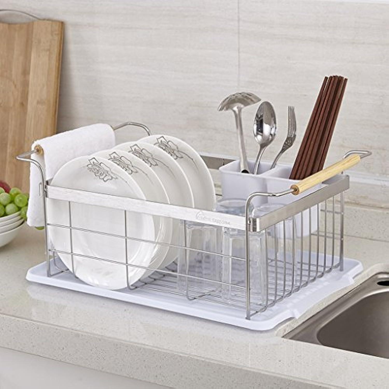 食器排水ラック304ステンレススチールゴムの木製のボウルの収納ラックのテーブルと箸のスタンド (色 : 原色)