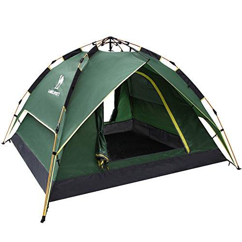 テント Camel[キャメル] ワンタッチテント フルクローズ ドームテント 折りたたみ キャンプテント設営簡単 撥水加工 通気性 防雨 防風 紫外線カット 3-4用 (アーミーグリーン)