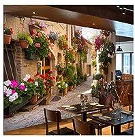 Mingld カスタム3D写真の壁紙風景リビングルームのソファ背景田舎風景郷愁家や鉢植えの花壁壁画-400X280Cm