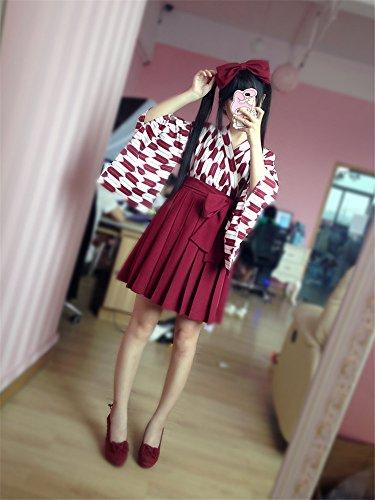 【ノーブランド品】 矢羽柄 和式 プリント 改良 着物 和服 上下セット 日本式 ふわふわな彼女 羽織 上着 アンド プリーツスカート 浴衣 M ショートレッド