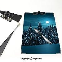クリップボード アルファベット 夜 金属製強力クリップ 雪の穏やかな冬景色で覆われた森の中で月と静かな青い夜ターコイズティールホワイト