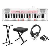 CASIO LK-312 光ナビゲーションキーボード 61鍵盤 黒スタンド・黒イス・ヘッドホンセット カシオ