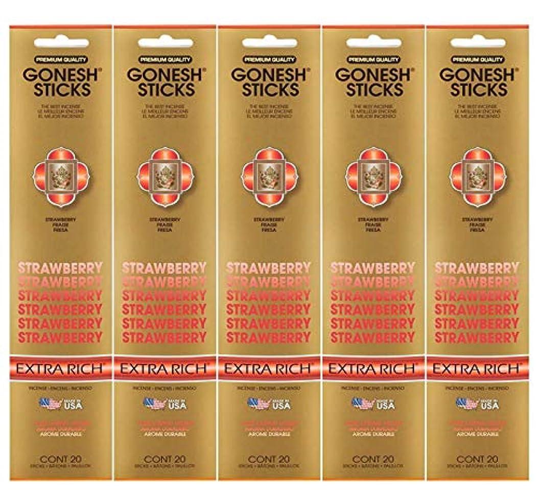 かみそりとんでもないピアGonesh Incense Sticks Extra Richコレクション – ストロベリー5パック(合計100 )