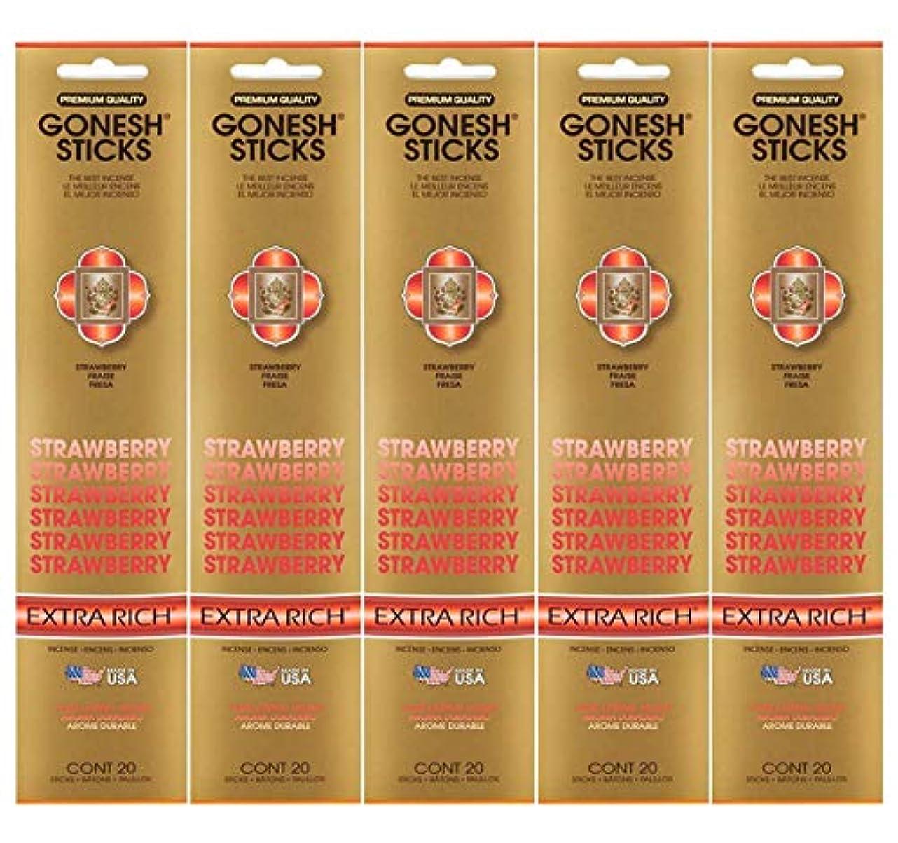 予算不和吸収Gonesh Incense Sticks Extra Richコレクション – ストロベリー5パック(合計100 )