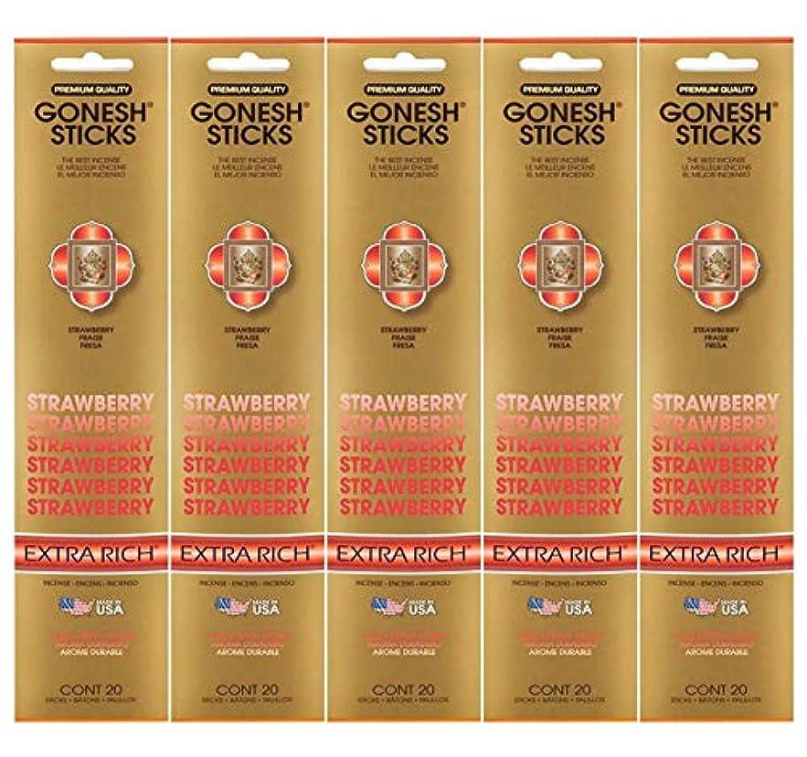 失礼な舌オーナーGonesh Incense Sticks Extra Richコレクション – ストロベリー5パック(合計100 )