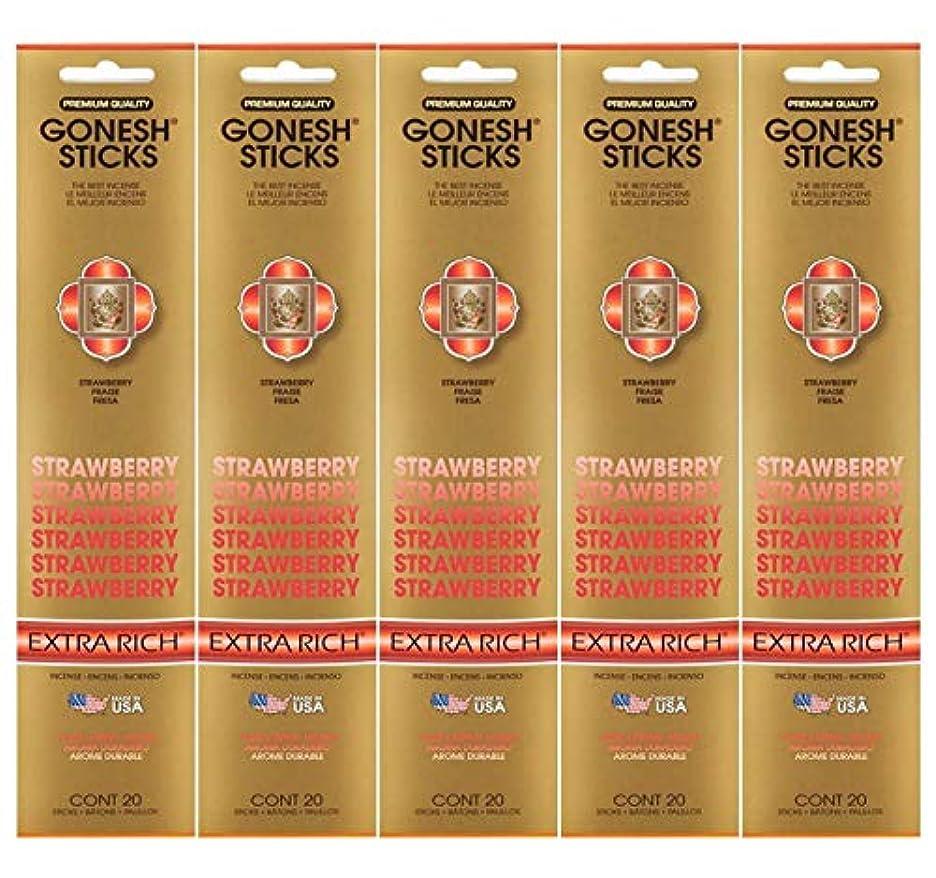 見つける封建診療所Gonesh Incense Sticks Extra Richコレクション – ストロベリー5パック(合計100 )