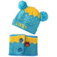 Dreamslink Dreamslink Hat Kids Winter Hat, Plus Velvet Thickening Warm, Baby Knitted Hat with Scarf Crown Cap, Blue