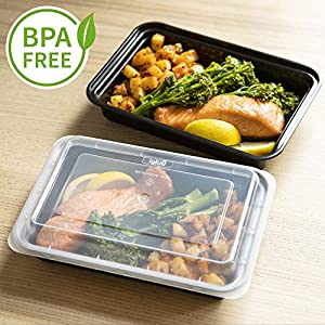 [10 pack] 1 Compartment BPA-Free Reusable Meal Prep Containers | Plastic Food Storage Trays with Airtight Lids | Microwavable, Freezer and Dishwasher Safe | Stackable Bento Lunch Boxes