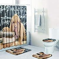 シャワーカーテン 浴室用カーペット 便座クッション シャワーマット コンビネーション4ピース 洗濯機で洗えます,D,180CM+50*80CM