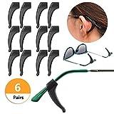 YR メガネロック 滑り止め 軟質シリコーン 柔らか 弾性 すり落ち防止 眼鏡 老眼鏡 サングラス アクセサリー めがね固定 6セット