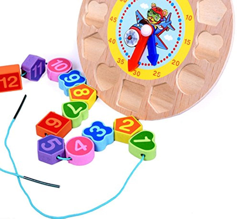 3d Woodedデジタルジオメトリクロック木製玩具in Tiger For Children 3 + ( clk-t )
