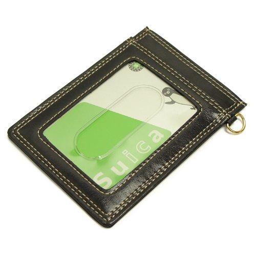 [イーモノ] e-mono パスケース 定期入れ 両面 二面 icカード 2枚 クリアポケット (ブラック≪メール便≫)