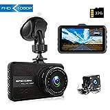 [2019最新版 32GB SDカード付き]Apexcam ドライブレコーダー 前後カメラ 永久保証付き 1080PフルHD 1200万画素 取扱説明書付き 4インチ 170°広視野角 Gセンサー/レンズ 常時録画 G-sensor( WDR)防犯カメラ(tour3)