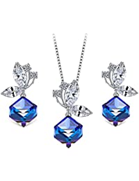 T400 Necklace and Earrings Jewelry Set for Women Swarovski Crystals Jewellry Changing Colors Birthday Gifts