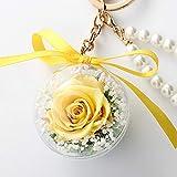 母の日 プリザーブドフラワー キーホルダー 枯れない花 ペンダント リボン付き アクリルボール 自動車飾りキーチェン02