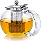 Teabloom Classica Everyday Teapot - Stovetop Safe Glass Teapot - 40 oz / 1200 ml Capacity - Removable Stainless Steel Infuser