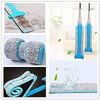 モップクリーニング用両面フリーハンド洗濯フラットモップ木製床モップダストプッシュモップキッチン家庭用床クリーニングツール-blue