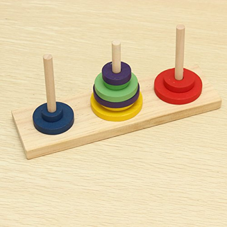 cynken木製タワーof Hanoi教育玩具子供Brain Teaser Toy
