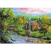 スクエアdiy 5dフォレストコテージ風景ダイヤモンド絵画刺繍クロスステッチダイヤモンドモザイク壁,70x90cm