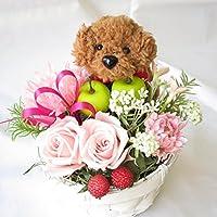 花 誕生日プレゼント女性 プリザーブドフラワー バラ 誕生日 花 プレゼント 女性 ギフト トイプードルのフラワーアレンジメ ント (茶色)
