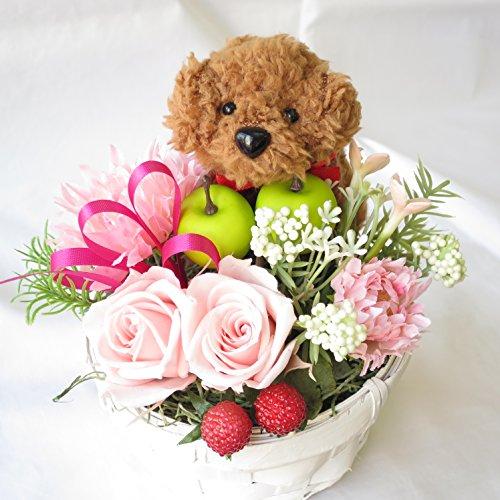 母の日 花 誕生日プレゼント女性 母の日ギフト プリザーブドフラワーのバラ トイプードルのフラワーアレンジメント プレゼント 女性 (茶色)