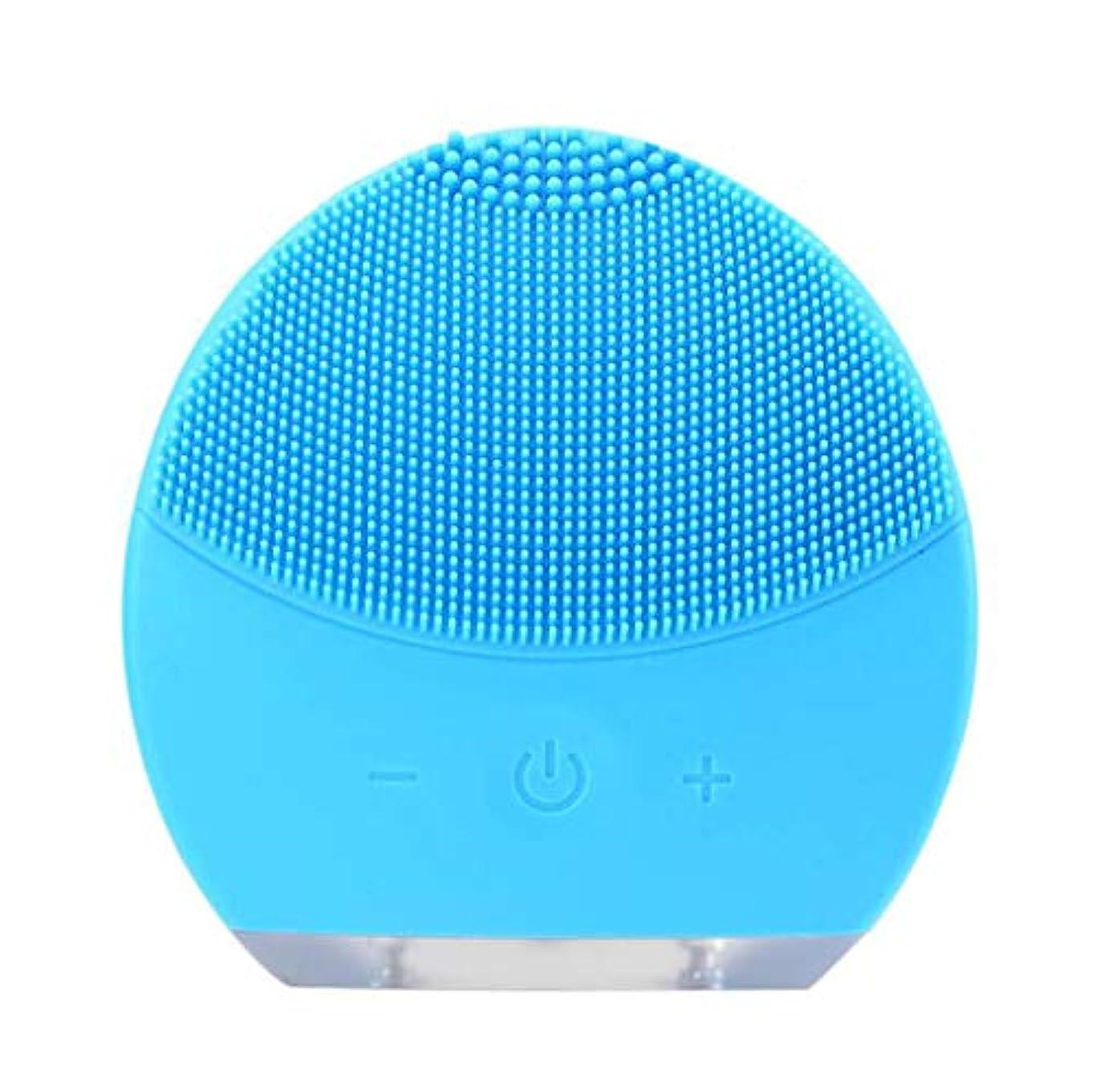 授業料揮発性パニック超音波振動美容機器洗浄器、皮膚の毛穴を最小限に抑えるマイクロダーマブレーション毛穴、USB 充電と防水,Blue