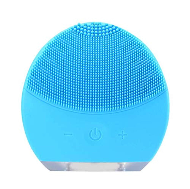 トーナメント精緻化間違っている超音波振動美容機器洗浄器、皮膚の毛穴を最小限に抑えるマイクロダーマブレーション毛穴、USB 充電と防水,Blue