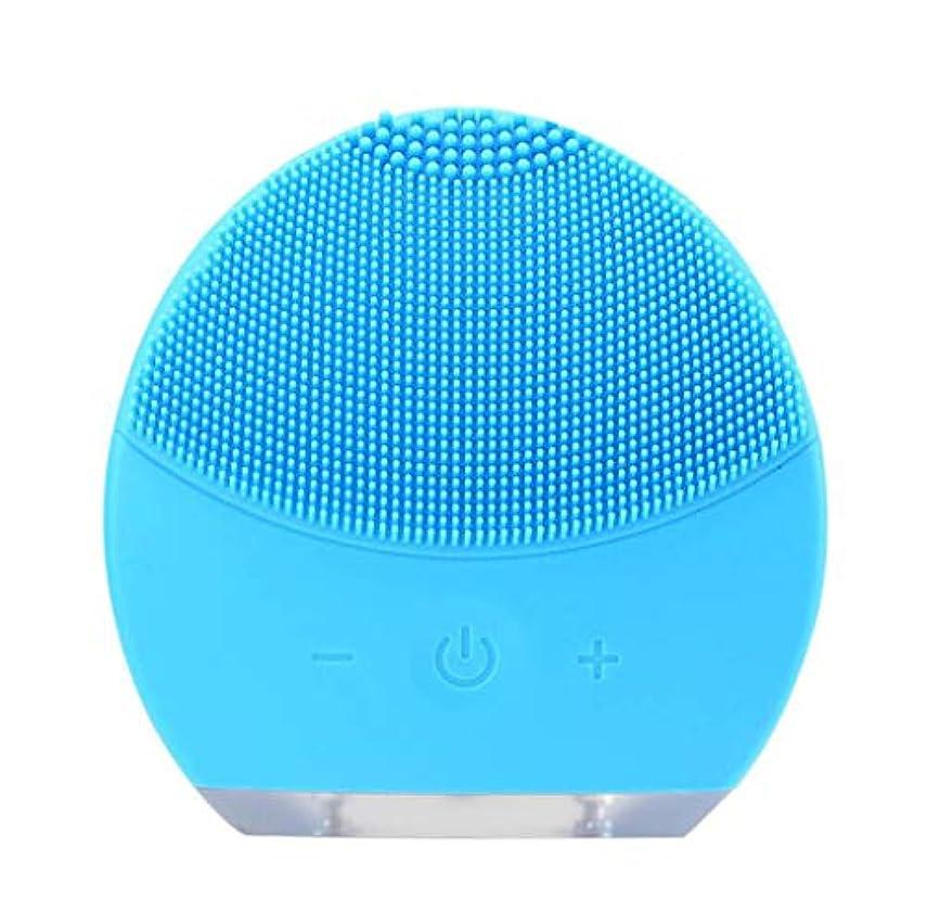 継続中努力するムスタチオ超音波振動美容機器洗浄器、皮膚の毛穴を最小限に抑えるマイクロダーマブレーション毛穴、USB 充電と防水,Blue