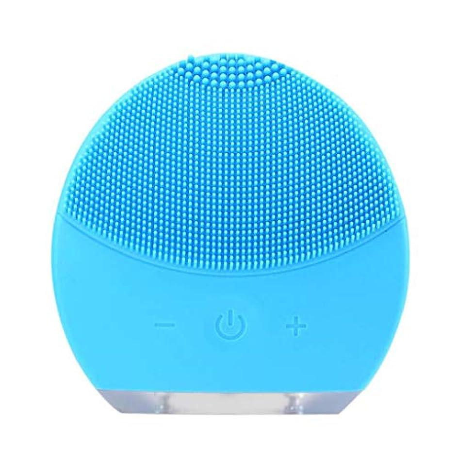 引き潮やるミキサー超音波振動美容機器洗浄器、皮膚の毛穴を最小限に抑えるマイクロダーマブレーション毛穴、USB 充電と防水,Blue