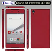 Xperia Z5 Premium SO-03H 側面(おまけ)付 スキンシール◆decopro デコシート携帯保護シール◆レッド(シングルカラーサンド柄)