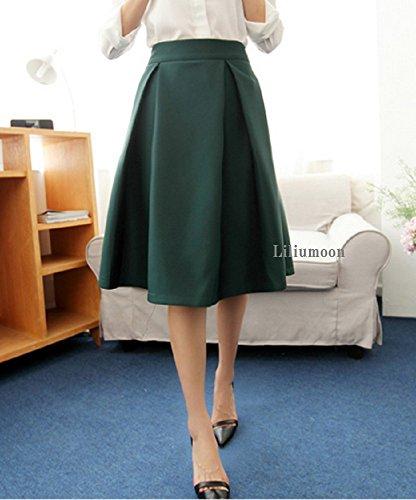 LiliumoonタックプリーツAラインフレアスカート無地裏地付ミディアムひざ丈レディースファッションSMLXLサイズ(L,ディープグリーン)
