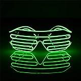 導かれたガラススロットシャッターライトアップメガネコントロールボックスが付いているELワイヤー夜魅力的な眼鏡の明るい眼鏡コンサートライブ大晦日クレイジー、クリスマスパーティー15 * 15 * 5CM (蛍光グリーン)