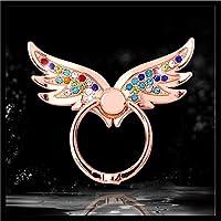 スマホリング 天使の翼 スマリング 指1本でiPhoneやスマホ等をしっかりホールドでき、大切なスマホが落下防止 (ピンクゴールド)